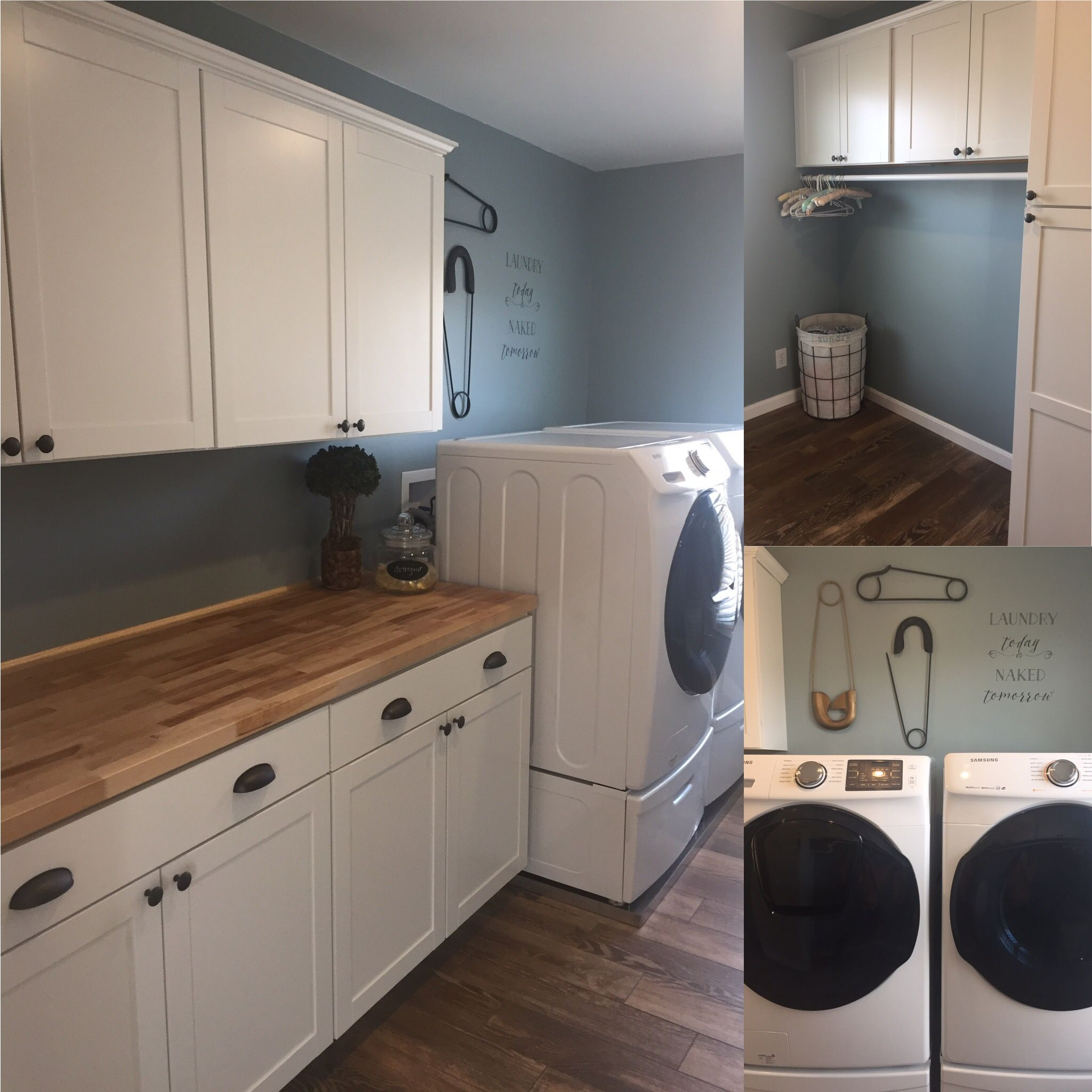 New Laundry Room Lowes Instock Cabinets Menards Butcher Block