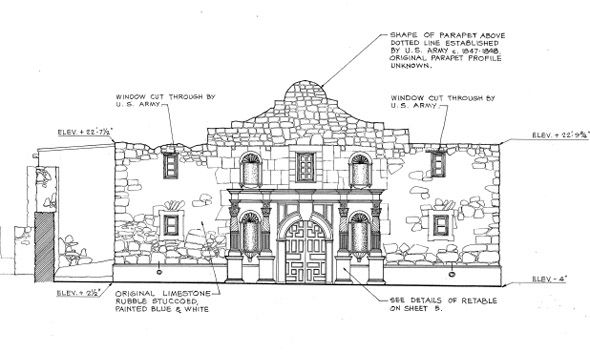 West elevation of the Mission San Antonio de Valero (the