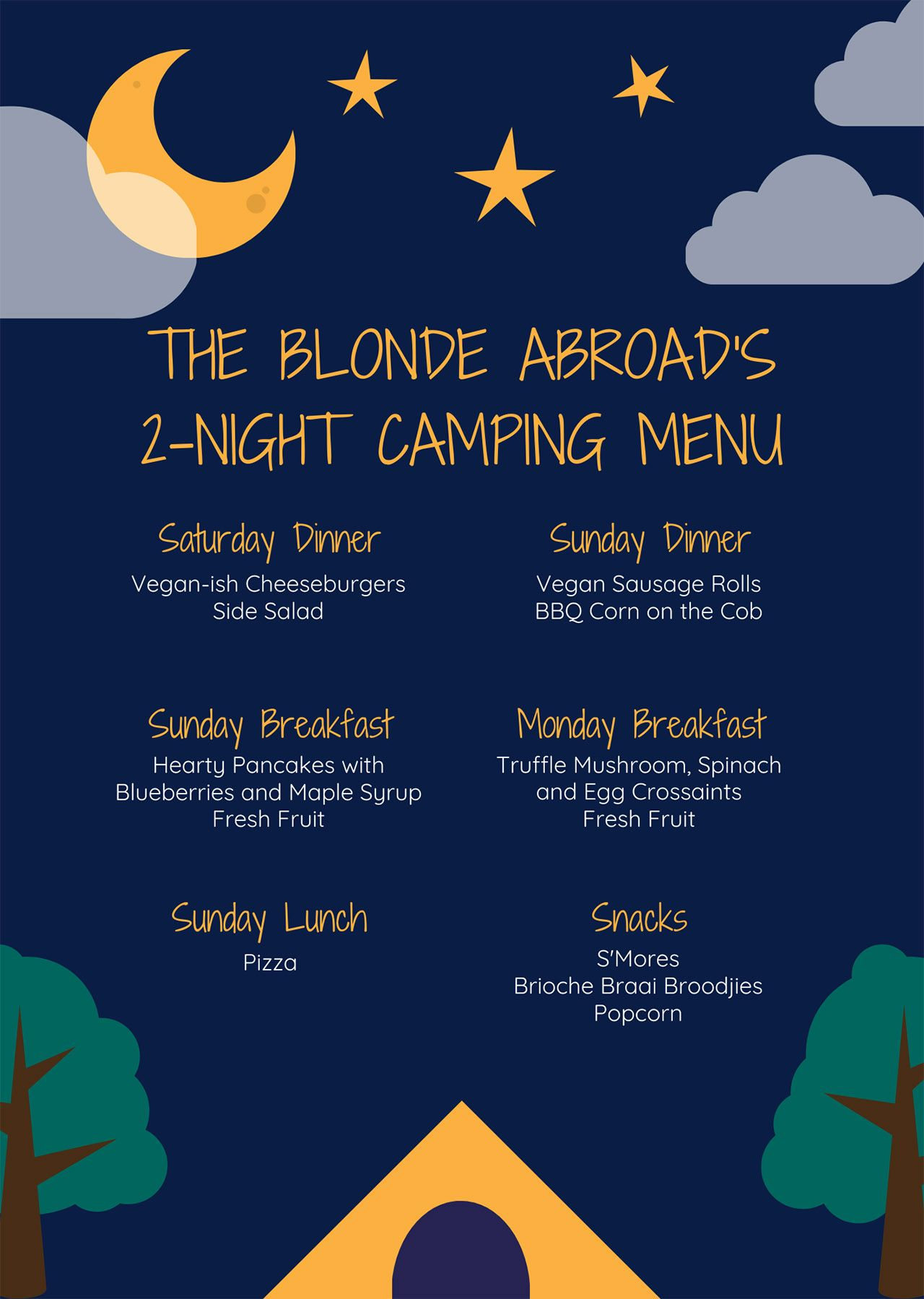 The Ultimate Camping Meal Plan Packing List The Blonde Abroad Camping Meal Planning Camping Meals Weekend Camping Trip
