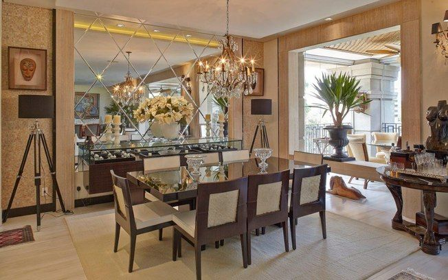 Espelho Para Sala De Jantar Grande ~  com bisotê  Sala  Pinterest  Sala de jantar, Espelhos e Jantares