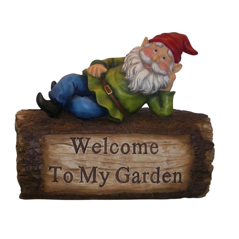 Outdoor Yard Decor Gnome Log Statue Stone Patio Deck Lawn Funny Art ...