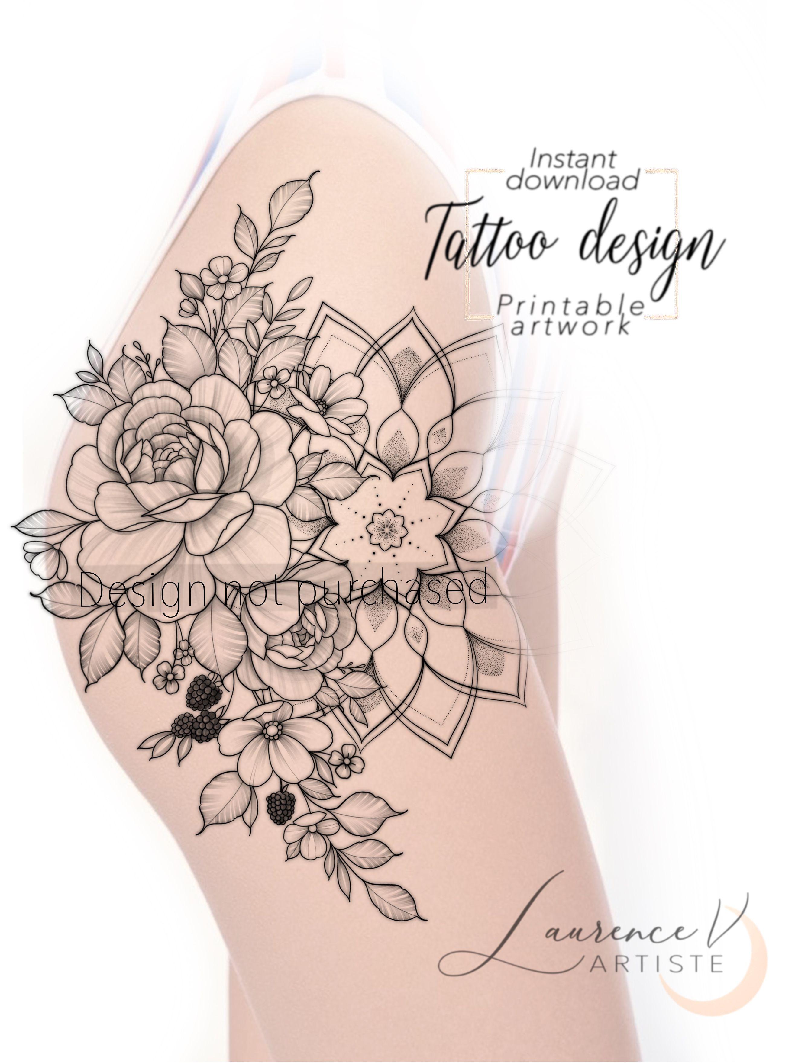 Flower Mandala Thigh Hip Tattoo Design Instant Download Laurenceveillx In 2020 Hip Tattoo Designs Hip Tattoo Mandala Hip Tattoo