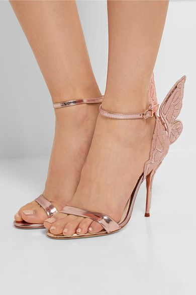 Heel measures approximately 100mm/ 4 inches Rose gold leather Buckle-fastening…