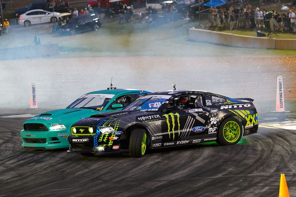 "Mustang v. Mustang. When the two ponies went head-to-head last year it took THREE ""One More Time"" runs to determine who would advance to the Great Eight at Formula Drift Atlanta. Vaughn Gittin Jr. took first place, and is ready to fight for the podium again!"