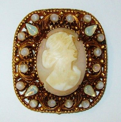 Vtg Florenza Real Shell Square Cameo Pin Opaline Opal Glass Gold Tone Carnelian | eBay