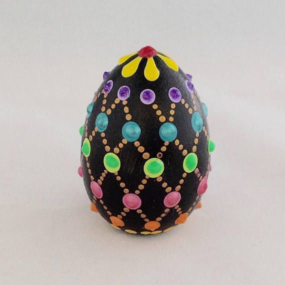 Wooden easter egg hand painted easter egg dot art easter gift wooden easter egg hand painted easter egg dot art easter gift gift for mom easter decor gift for grandma clear acrylic easter and egg negle Image collections