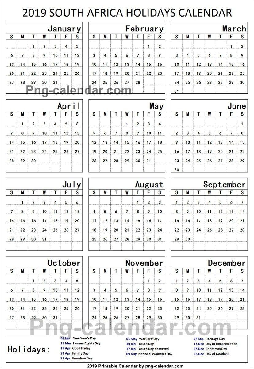 2019 Public Holidays South Africa Holiday Calendar Holiday Calendar Printable School Holidays