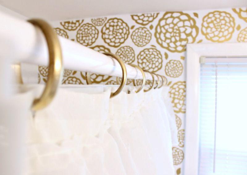 Glam Bathroom Makeover DIY Gold Curtain Ringsk