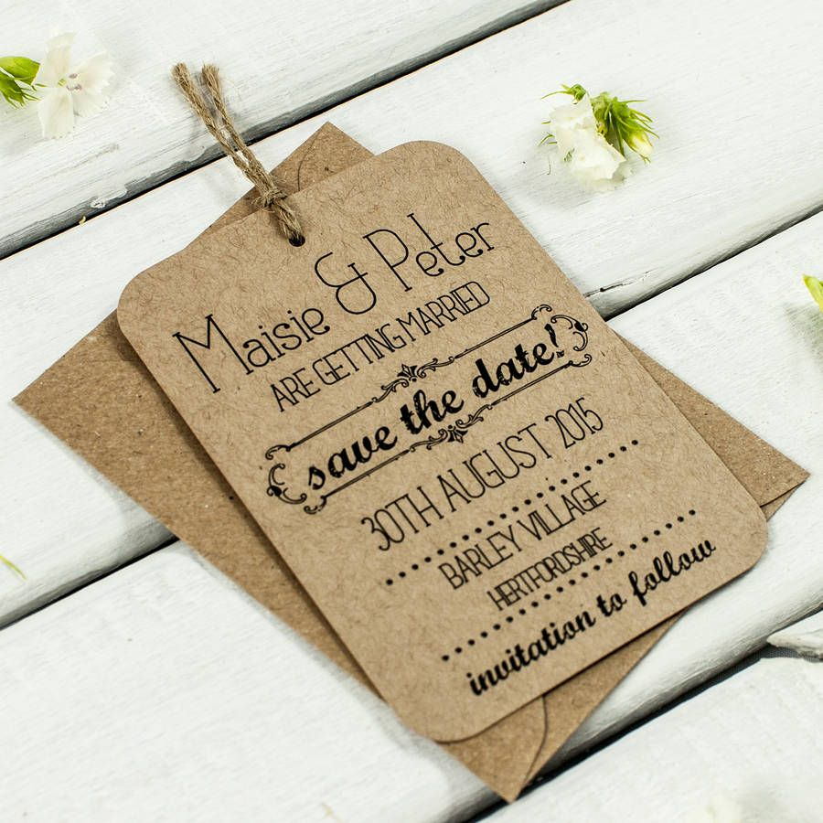 Kraft Save The Date Wedding Tag