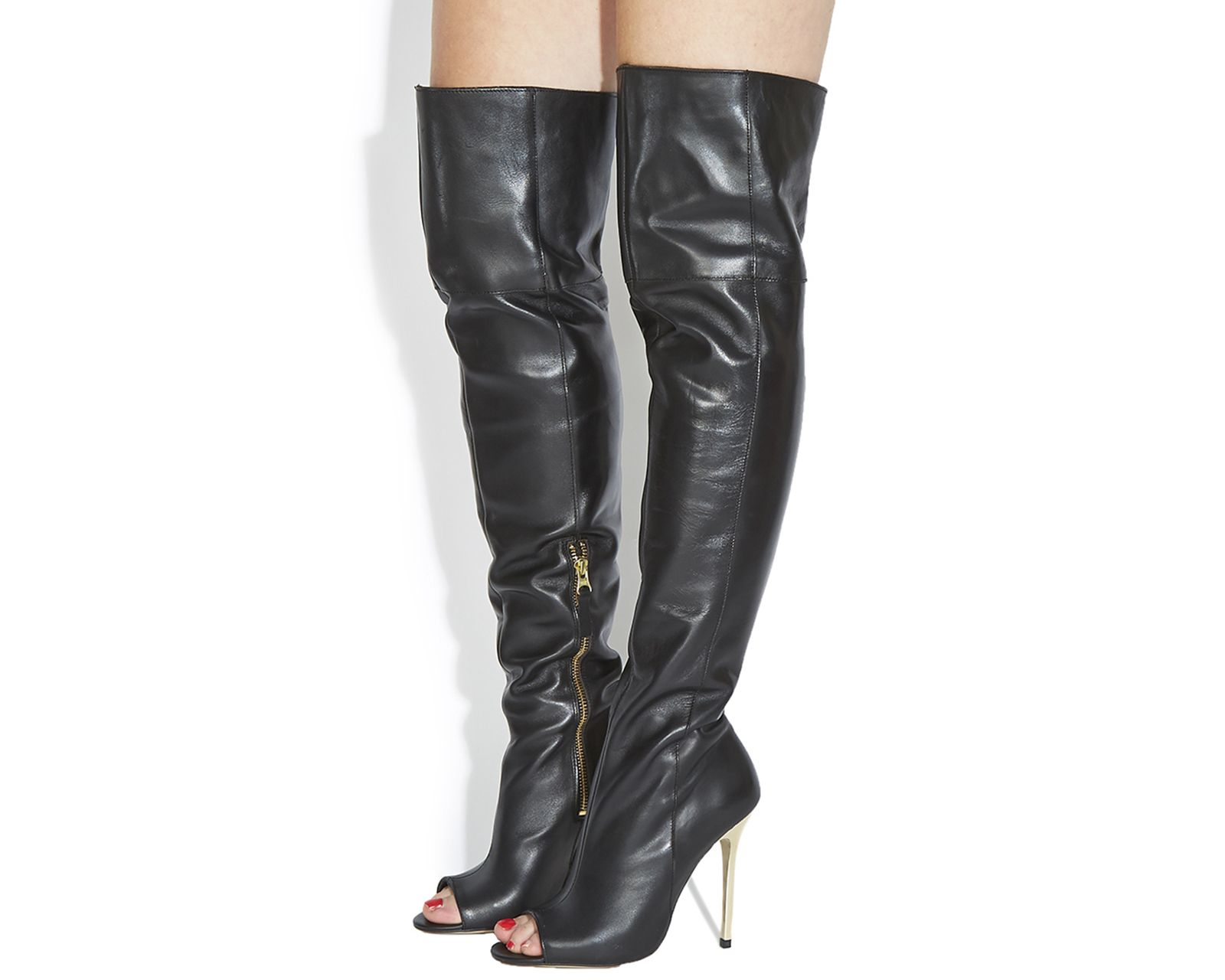 Office Everything Ptoe Over The Knee Boots Black Leather Gold Heel