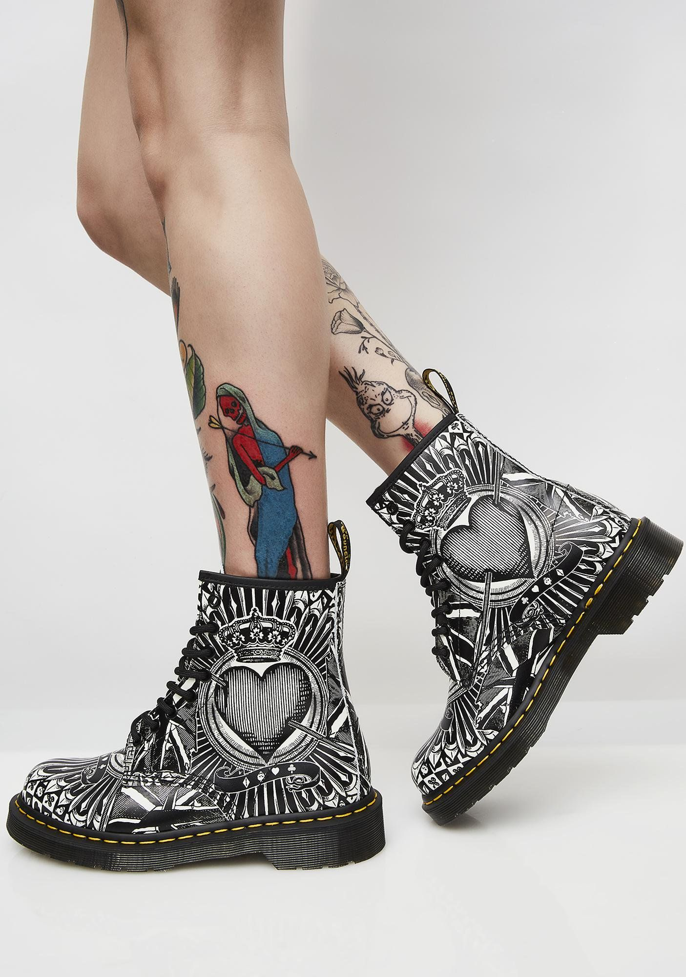 eb506e5290c Dr. Martens 1460 8 Eye Playing Card Boots cuz you know how to win. These  combat boots have a black N  white graphic exterior