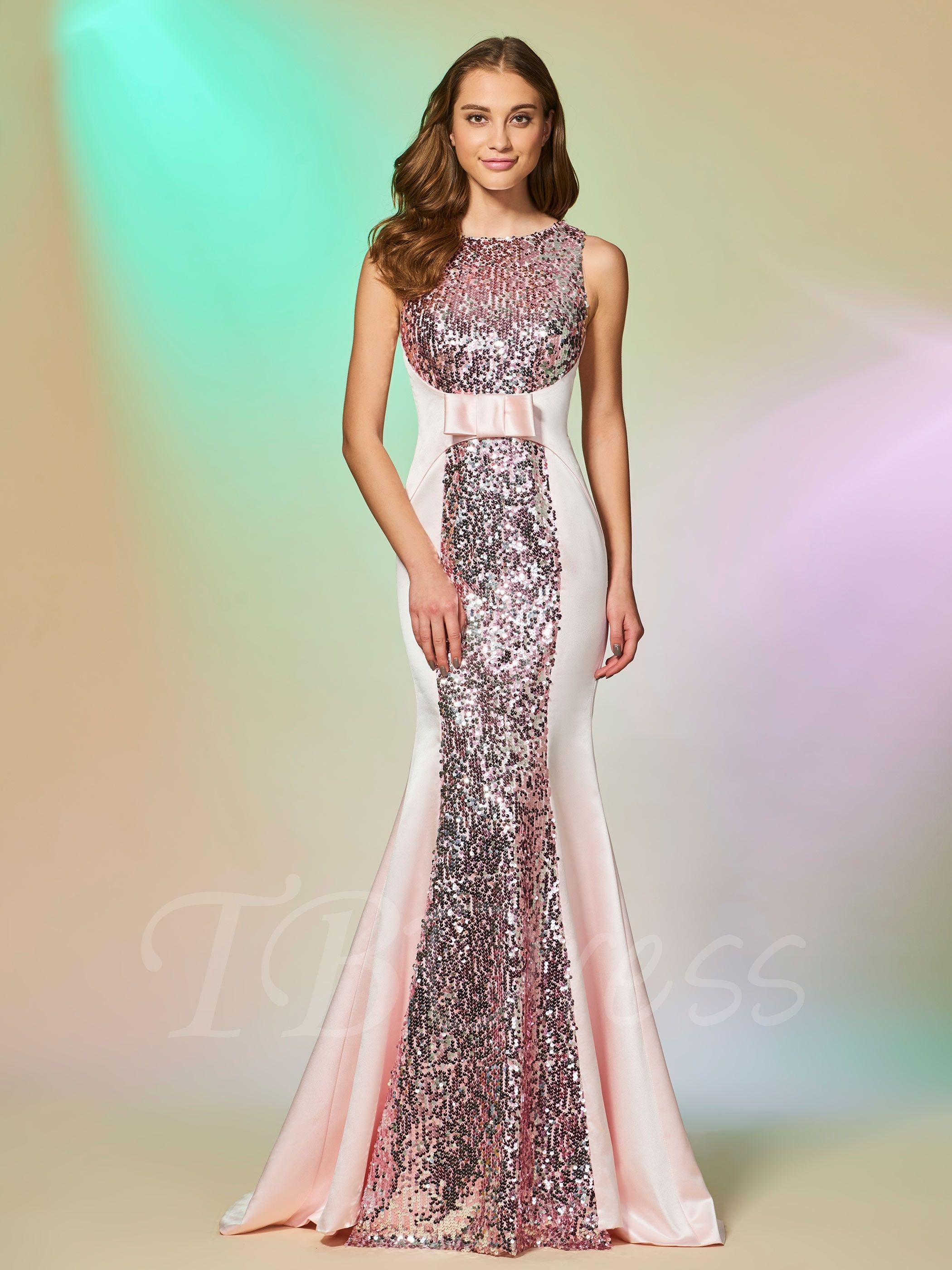 Scoop trumpet sleeveless bowknot sequins sweep train evening dress