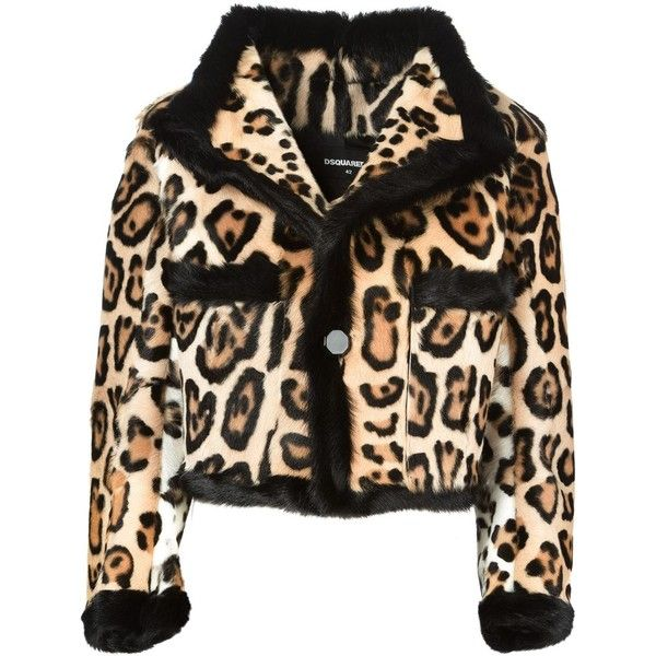 DSQUARED2 leopard jacket ($3,055) ❤ liked on Polyvore featuring outerwear, jackets, coats & jackets, brown, flap jacket, leopard print jacket, dsquared2 jacket, brown fur jacket and long sleeve crop jacket