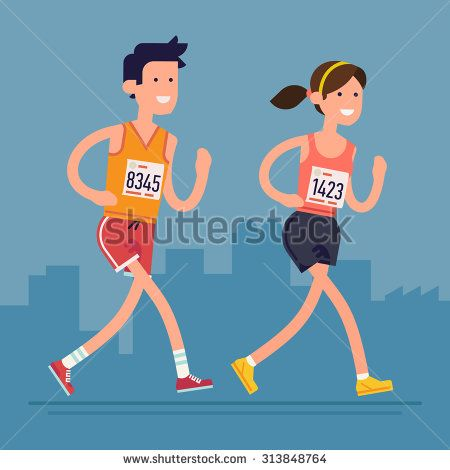 Cool vector marathon road race runners in trendy flat design   Young adult man and woman fitness characters participating in long distance running even with marathon number tags on
