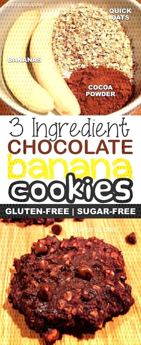 3 Ingredients Healthy Chocolate Banana Cookies Sugar-free, gluten-free, vegan, ... - New Ideas - f