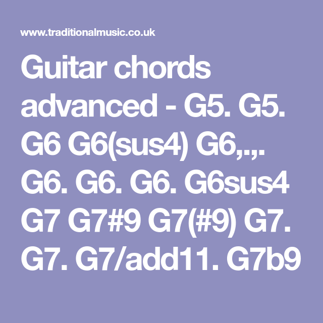 Guitar Chords Advanced G5 G5 G6 G6sus4 G6 G6 G6 G6