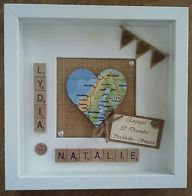 Personalised Map Scrabble Tile Frame Wedding Engagement Gift Home