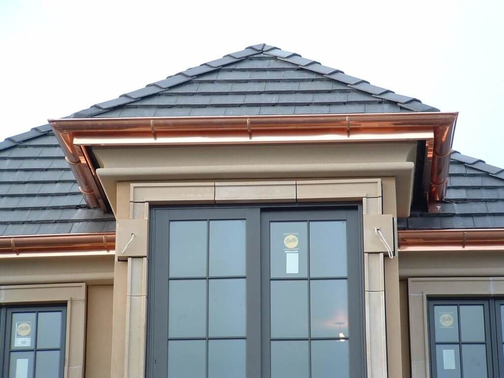 Copper Seamless Gutters Tudor House Exterior Gutters How To Install Gutters