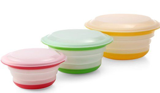 Fasmov Silicone Collapsible Storage Bowls with Lids Set of 3