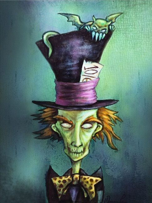 Mad Hatter by Diana Levin Alice in Wonderland Tattoo Canvas Art Print