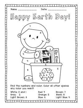 earth day color by number activities earth day activities earth day activities number. Black Bedroom Furniture Sets. Home Design Ideas