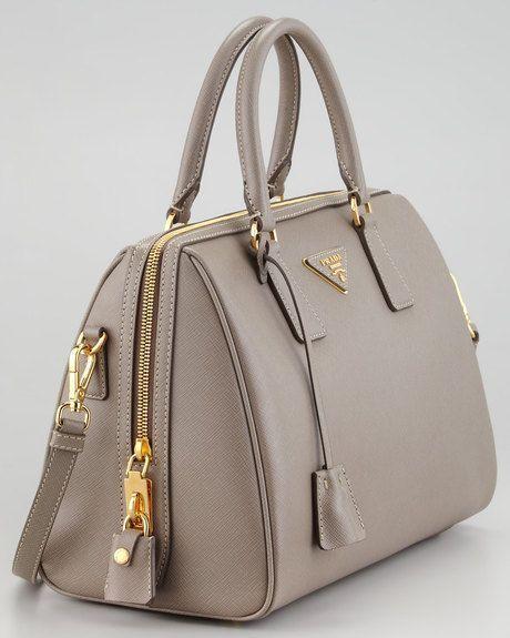 Photo of Prada Saffiano Shoulder-Strap Bowler Bag, Gray (Argilla)