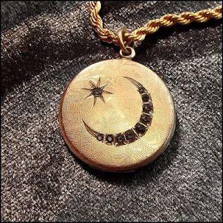 Great Vintage Jewelry-Antique Art Deco Designer Vintage Jewelry: Antique Gold Locket Crescent Moon w Diamonds Victo...
