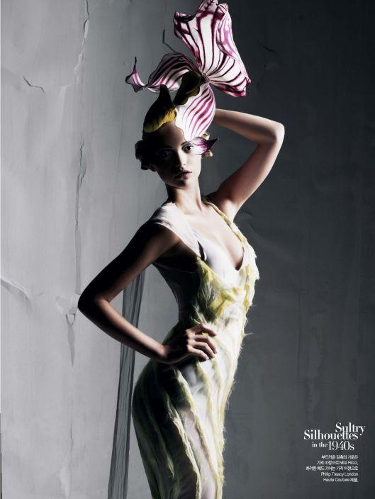 Gemma Ward is shot by Mario Sorrenti for Harper's Bazaar Korea, December, 2007.
