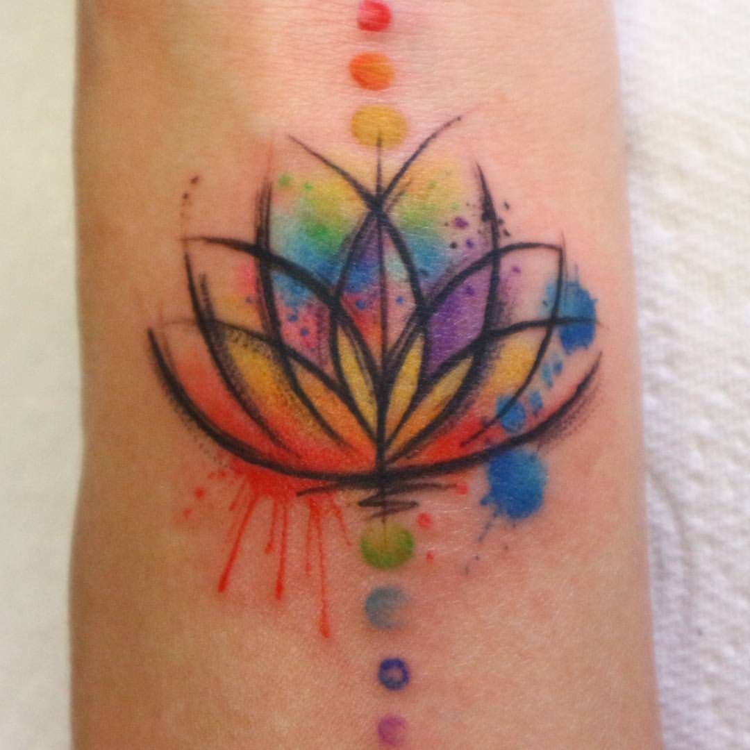 95107a6f3 Tiny tiny lotus on the wrist thanks again guys it was a pleasure! # watercolour #sketchytattoo #watercolour #lotustattoo #chakra #chakratattoo  #wristtattoo