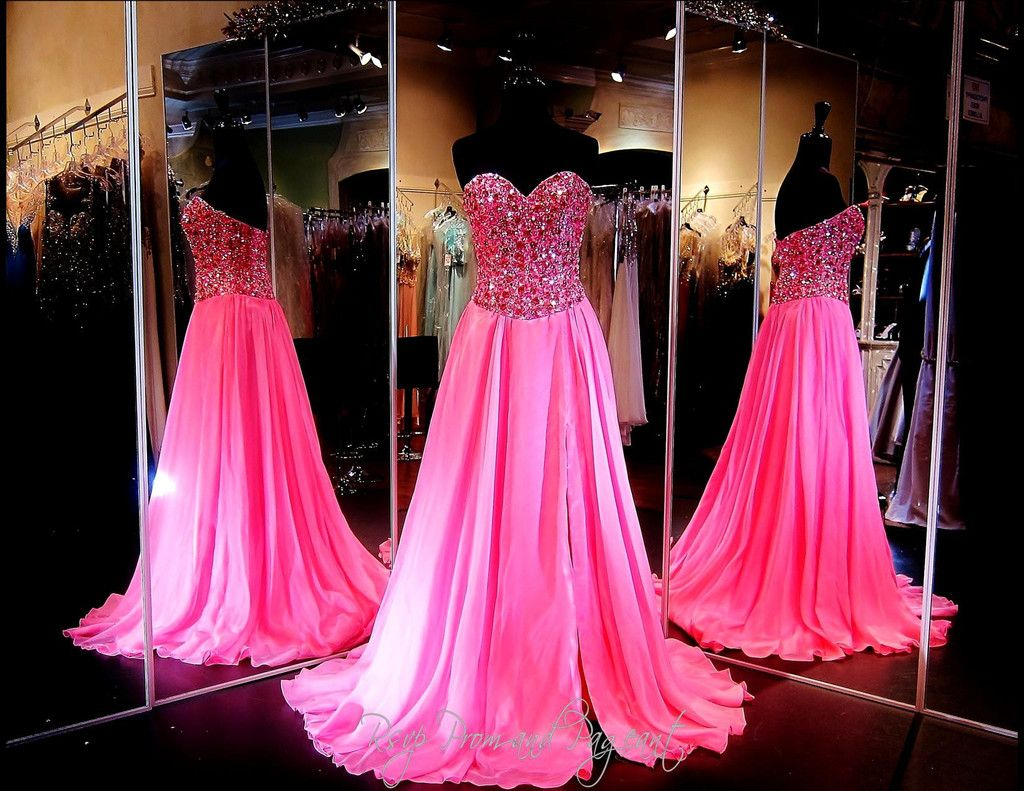 Fuchsia Chiffon A-Line Prom or Pageant Dress-High Slit-Fully beaded ...