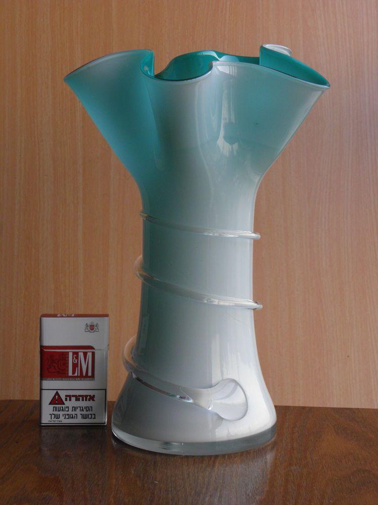 Vintage Large Aqua Murano Glass Vase 12 Hand Blown Gorgeous Home