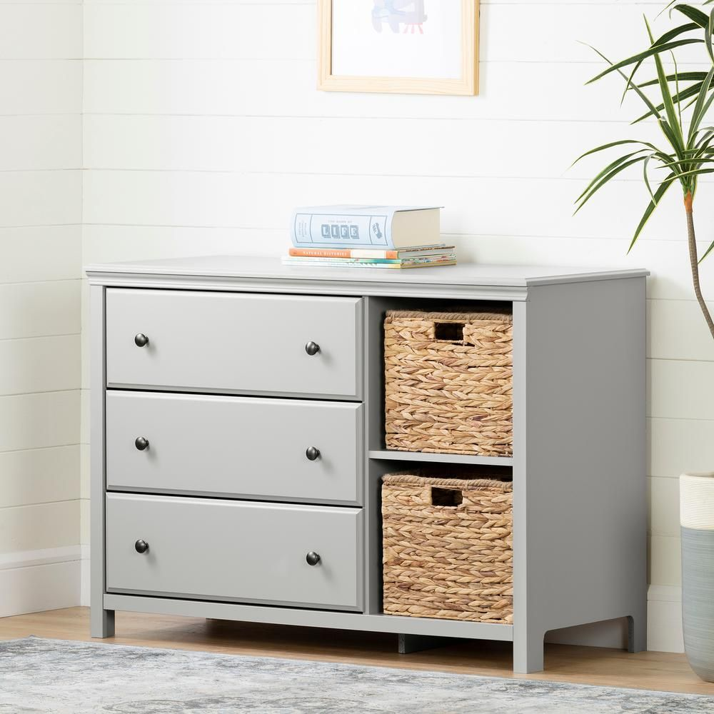 South Shore Cotton Candy 3 Drawer Soft Gray Dresser 12138 The Home Depot Grey Dresser 3 Drawer Dresser Dresser Drawers [ 1000 x 1000 Pixel ]
