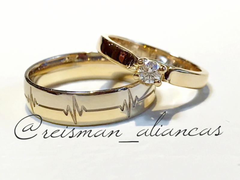 Par de Alianças Batimento Cardíaco ♥ Casamento e Noivado em Ouro 18K -  Reisman e6e4f4a40a