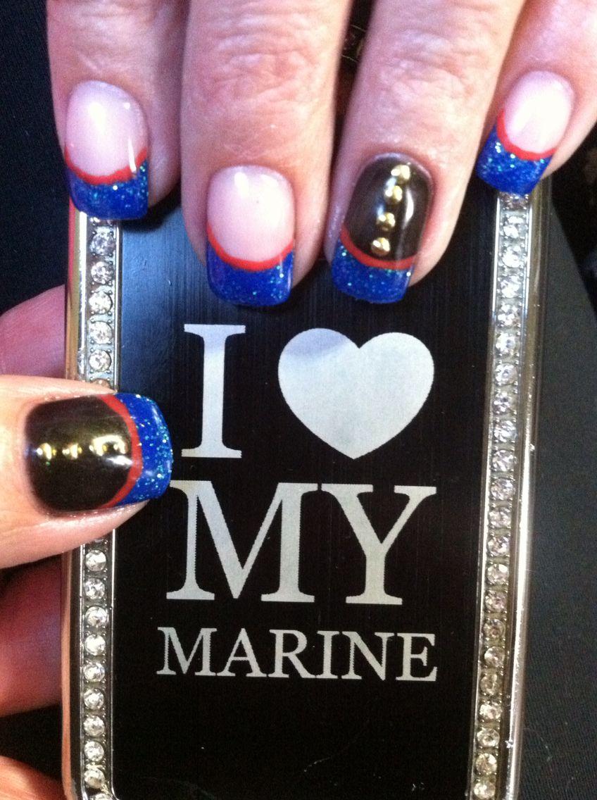Marine Corp Nails | nail art | Pinterest | Marines, Marine nails and ...
