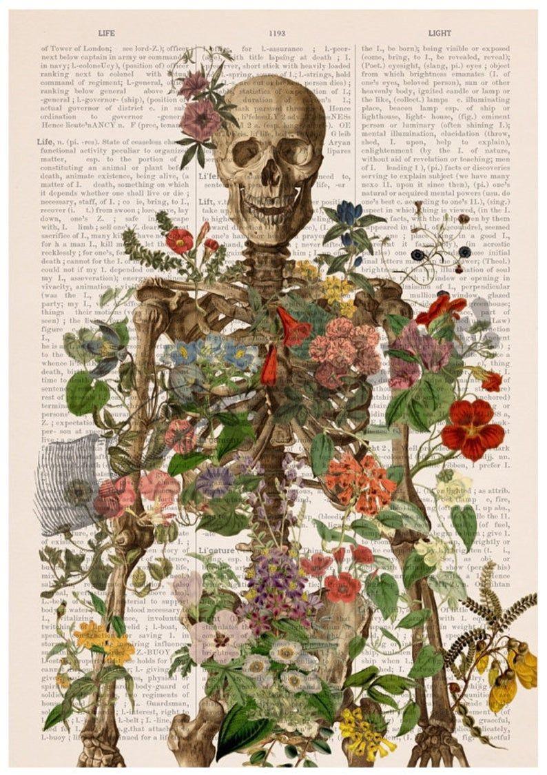 Doctor gift Anatomy Wall Art - Flower Skeleton - Human Skeleton Art - Anatomy Illustration - Anatomical Decor - Anatomy Print - SKA146PA3