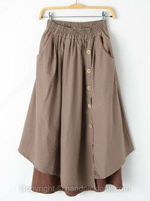Coffee Elastic Waist Asymmetrical Button Embellished Skirt -$34.69