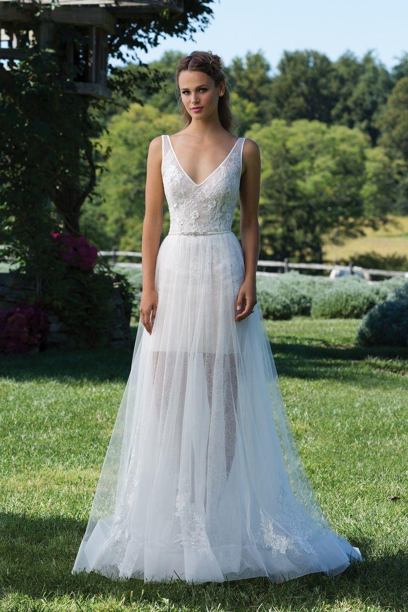 Sincerity Bridal - Style 3970: V-Neck Chantilly Lace Mini Dress with ...