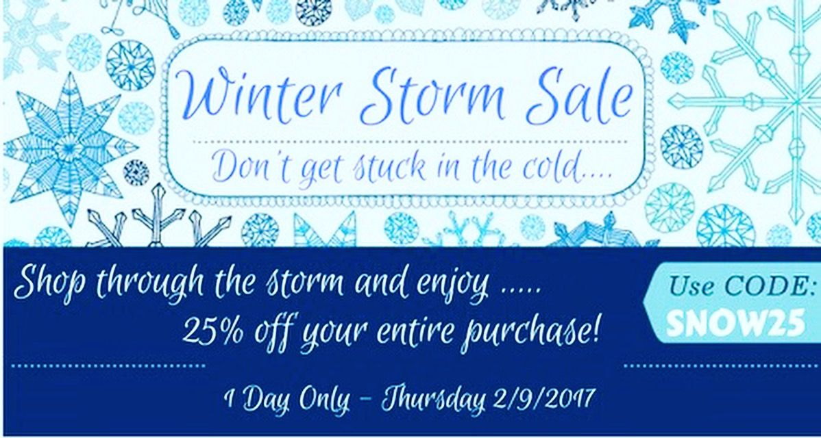Winter Storm Sale! Don't get left out in the cold! Enjoy 25