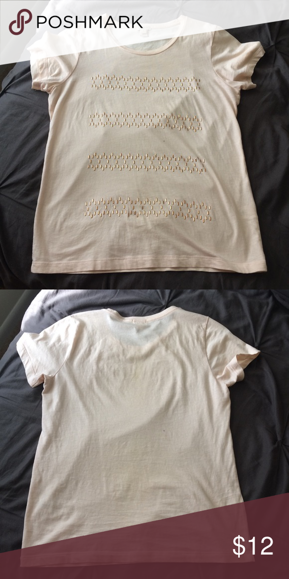 J. Crew Embellished Collector T-Shirt The perfect neutral t-shirt that goes with anything and adds a touch of class to any outfit. In great condition J. Crew Tops Tees - Short Sleeve
