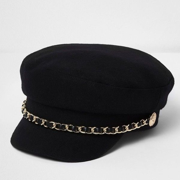 faf551c2cc4 River Island Black chain trim baker boy hat ( 36) ❤ liked on Polyvore  featuring accessories