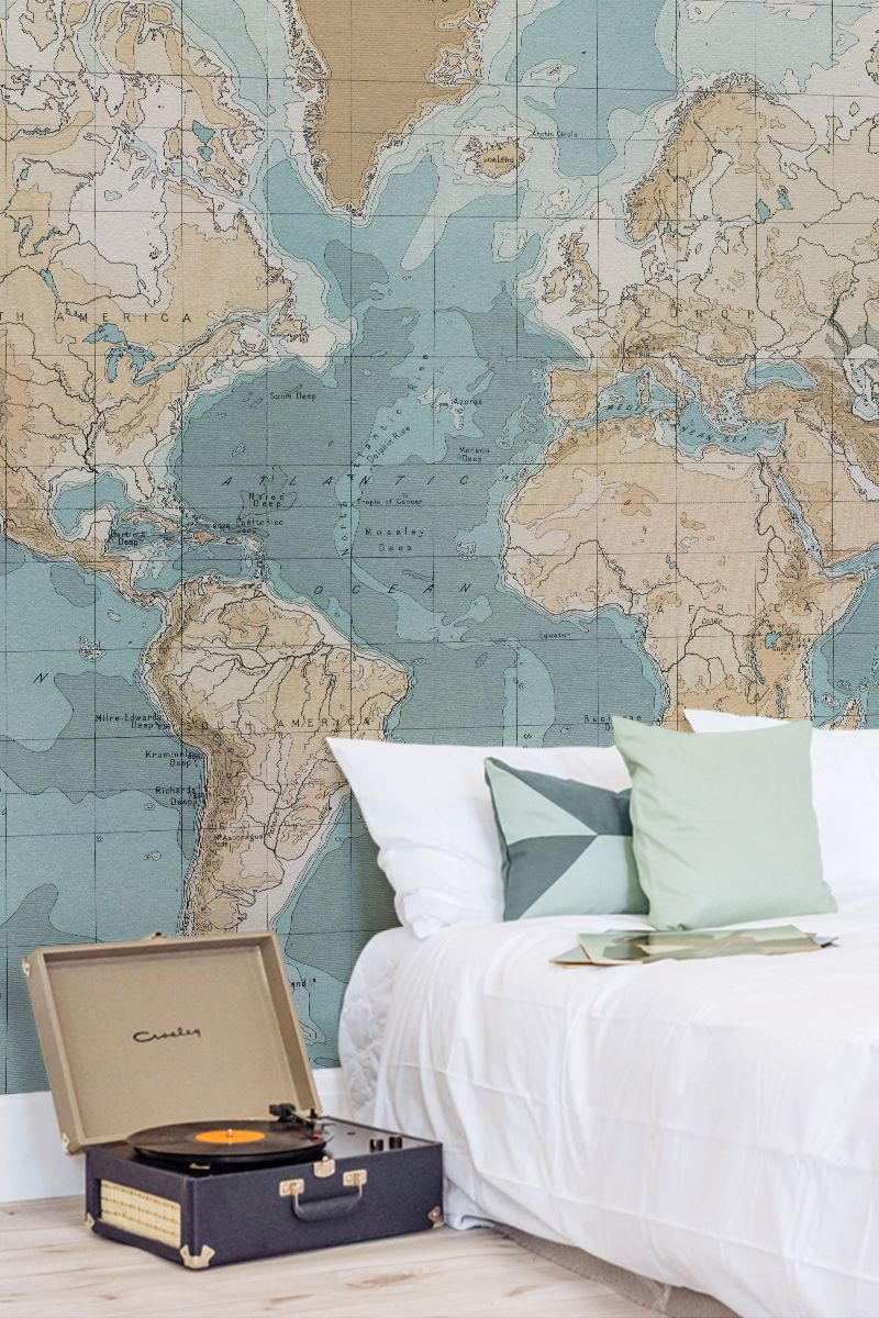 Are you a travel enthusiast this charming vintage map mural will embracing a palette of light pastels and intricate details this map wallpaper is both stylish gumiabroncs Image collections