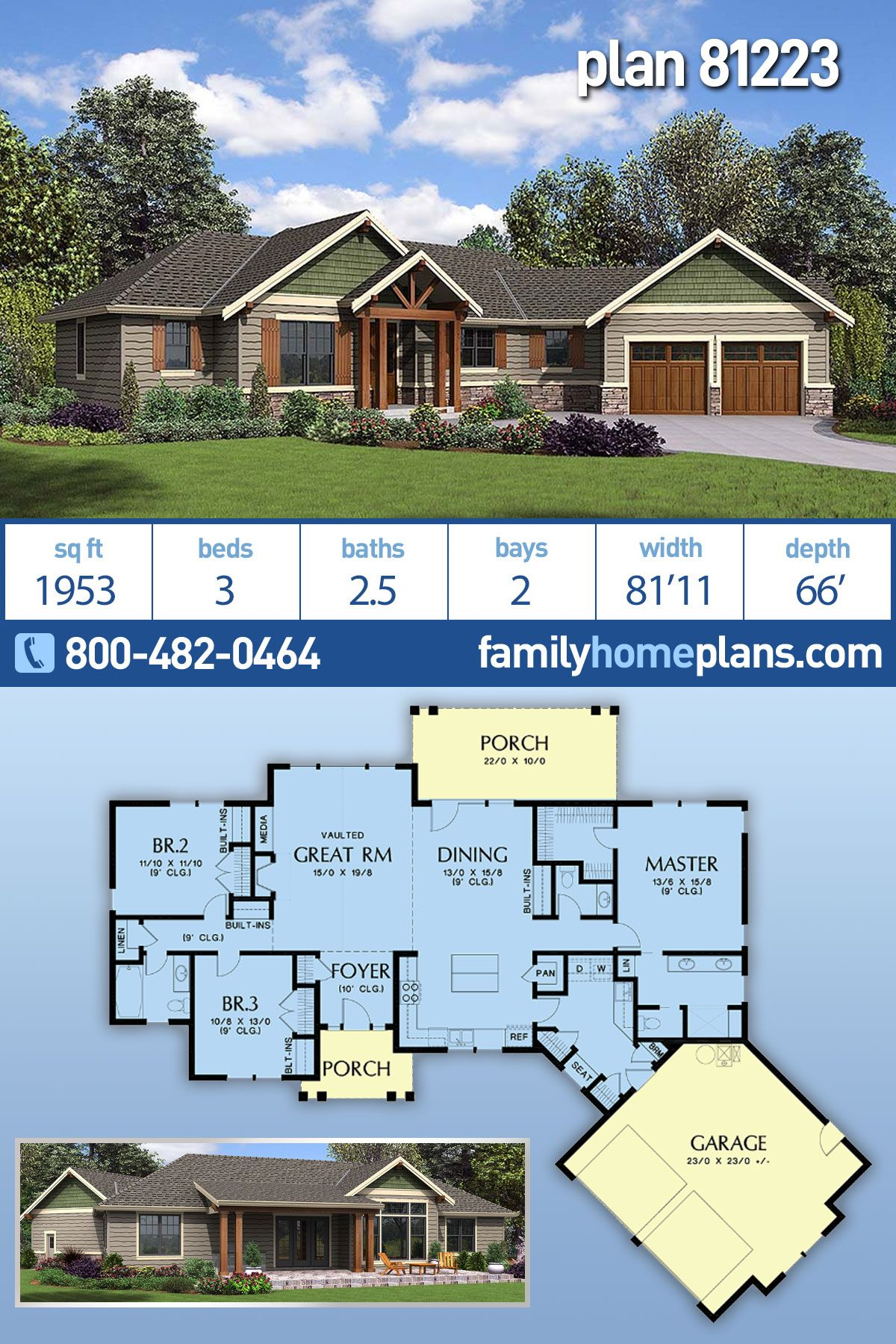 House Plan 81223 Craftsman Ranch Style House Plan With 1953 Sq Ft 3 Bed 3 Bath 2 Car Ranch House Floor Plans Family House Plans Ranch Style House Plans