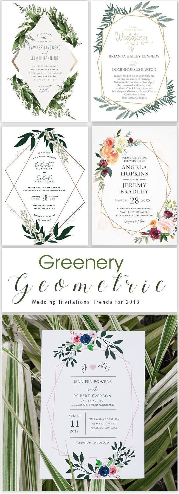 4 Chic Geometric Modern Wedding Invitation Trends for 2019