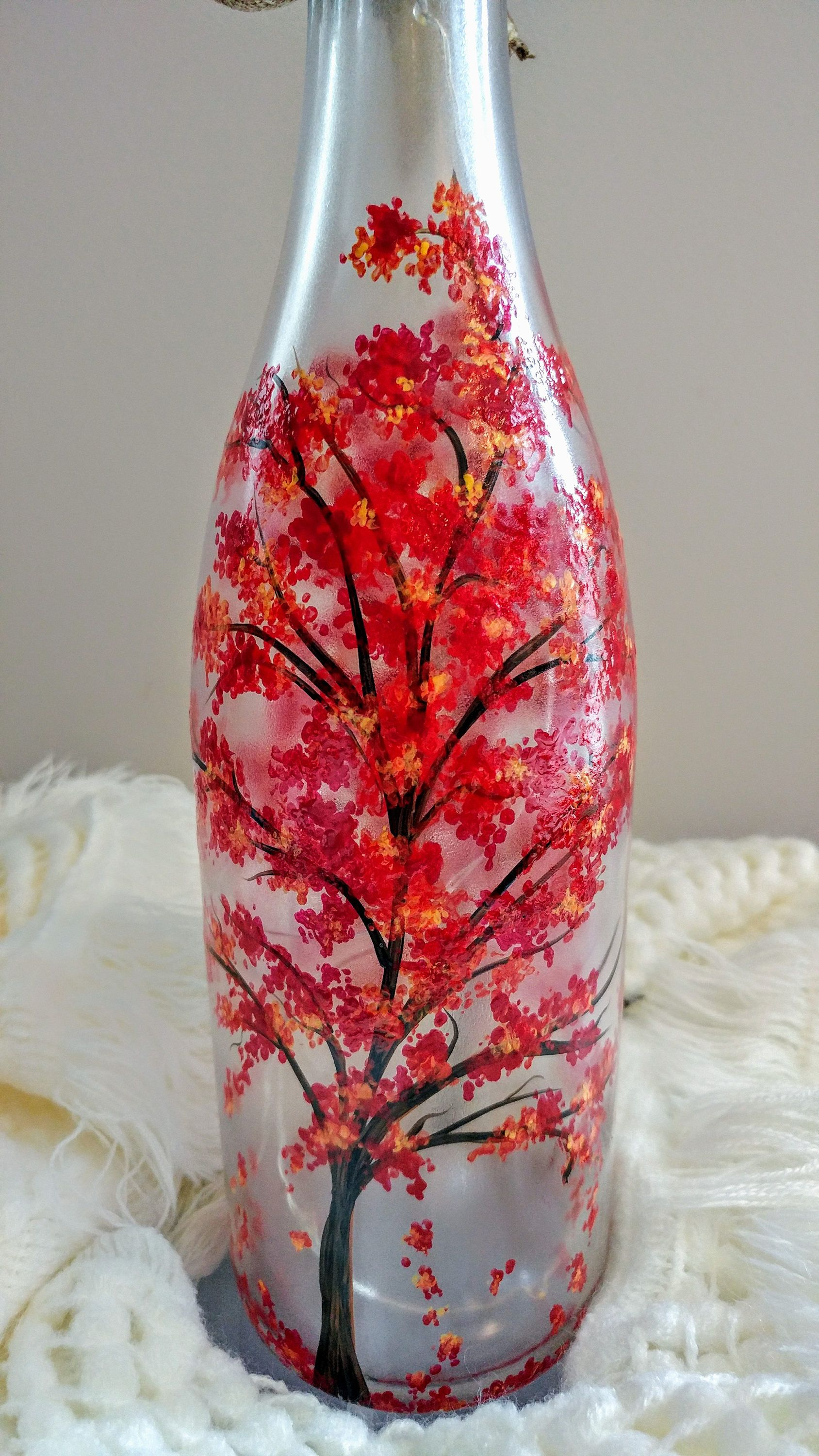 Hand Painted Autumn Tree With Falling Leaves Bottle Crafts Painted Wine Bottles Wine Bottle Crafts