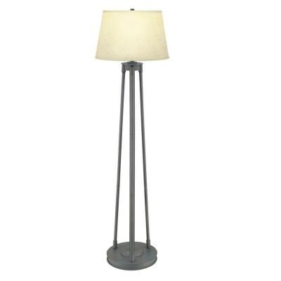 Rustic iron floor lamp with fabric shade heg7691a 4