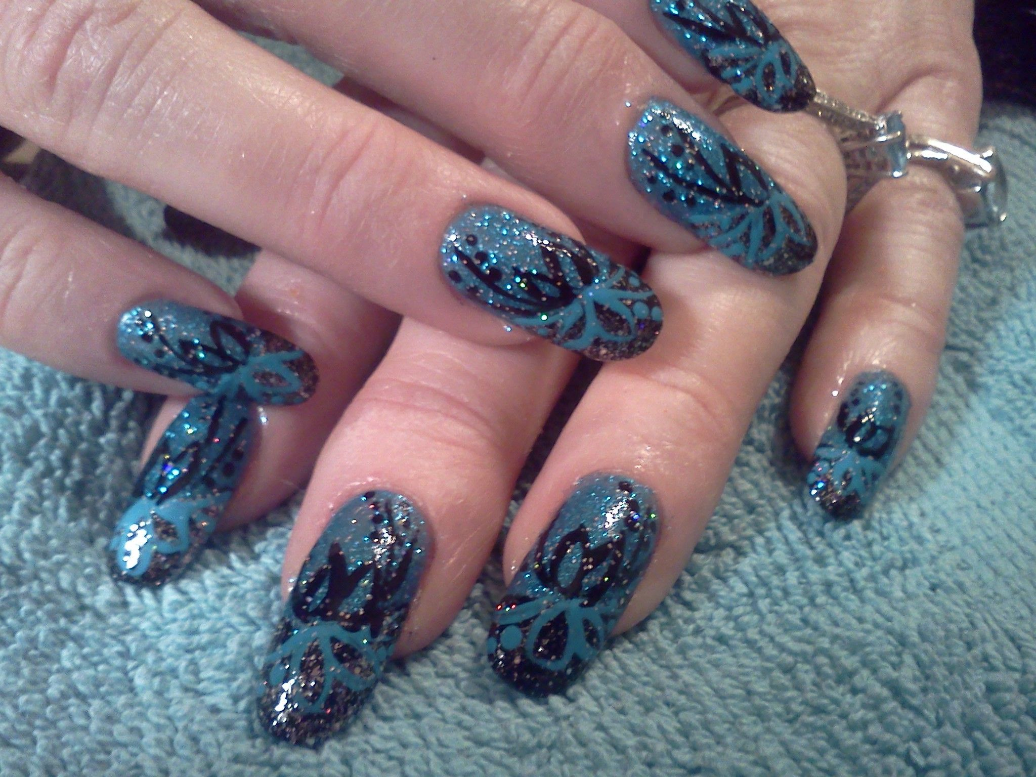 GO30 Prescription Nails with a Black and Blue pattern combined ...
