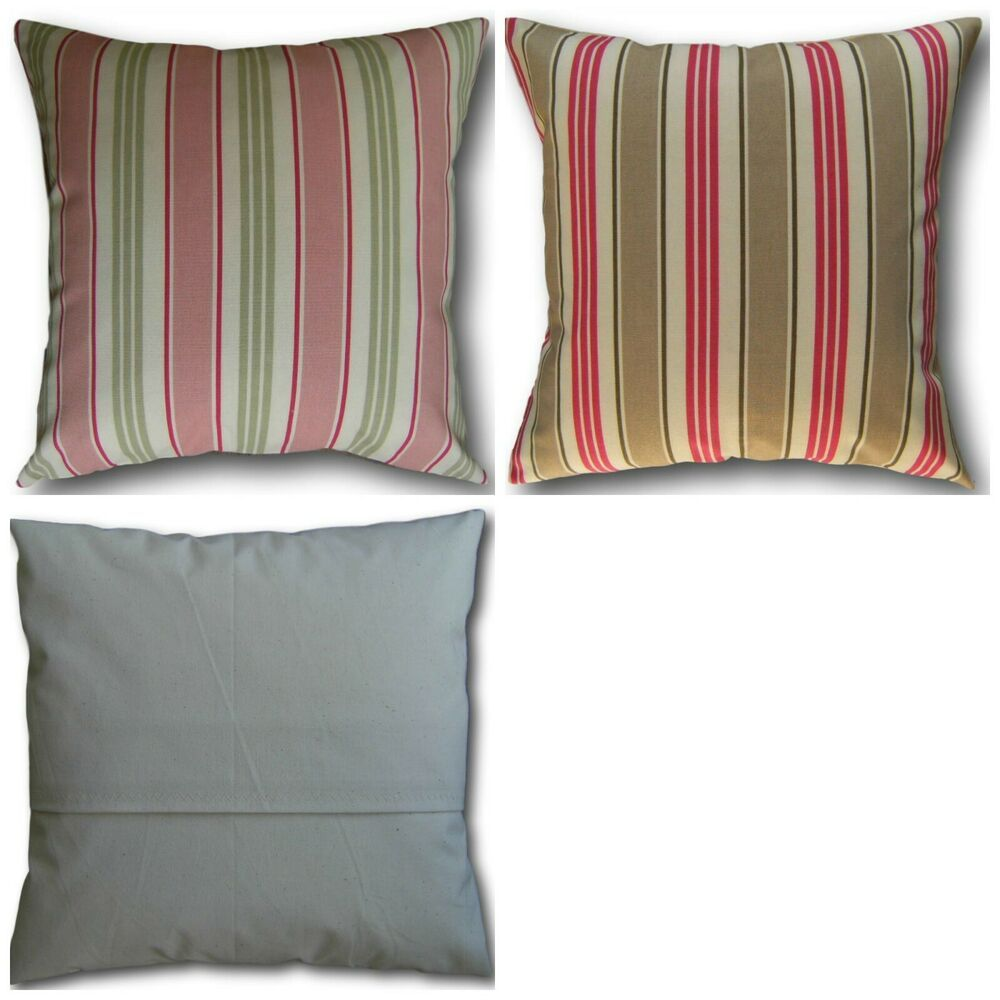 Cushion Covers made in Clarke/'s Deck Chair Stripe Sage Green Taupe Brown Pink