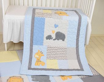 Elefanten Baby Decke Marine Grau Krippe Decke Chevron Kinder