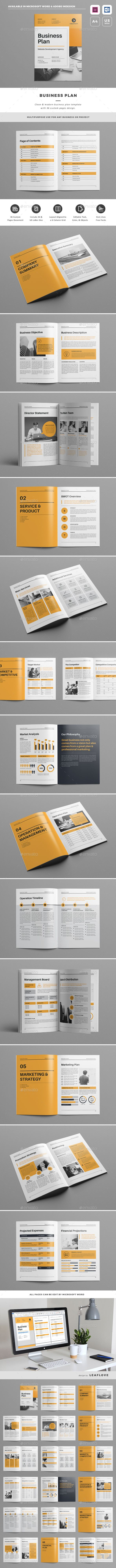 Clean & Modern Business Plan - Brochure Template InDesign INDD - 36 ...