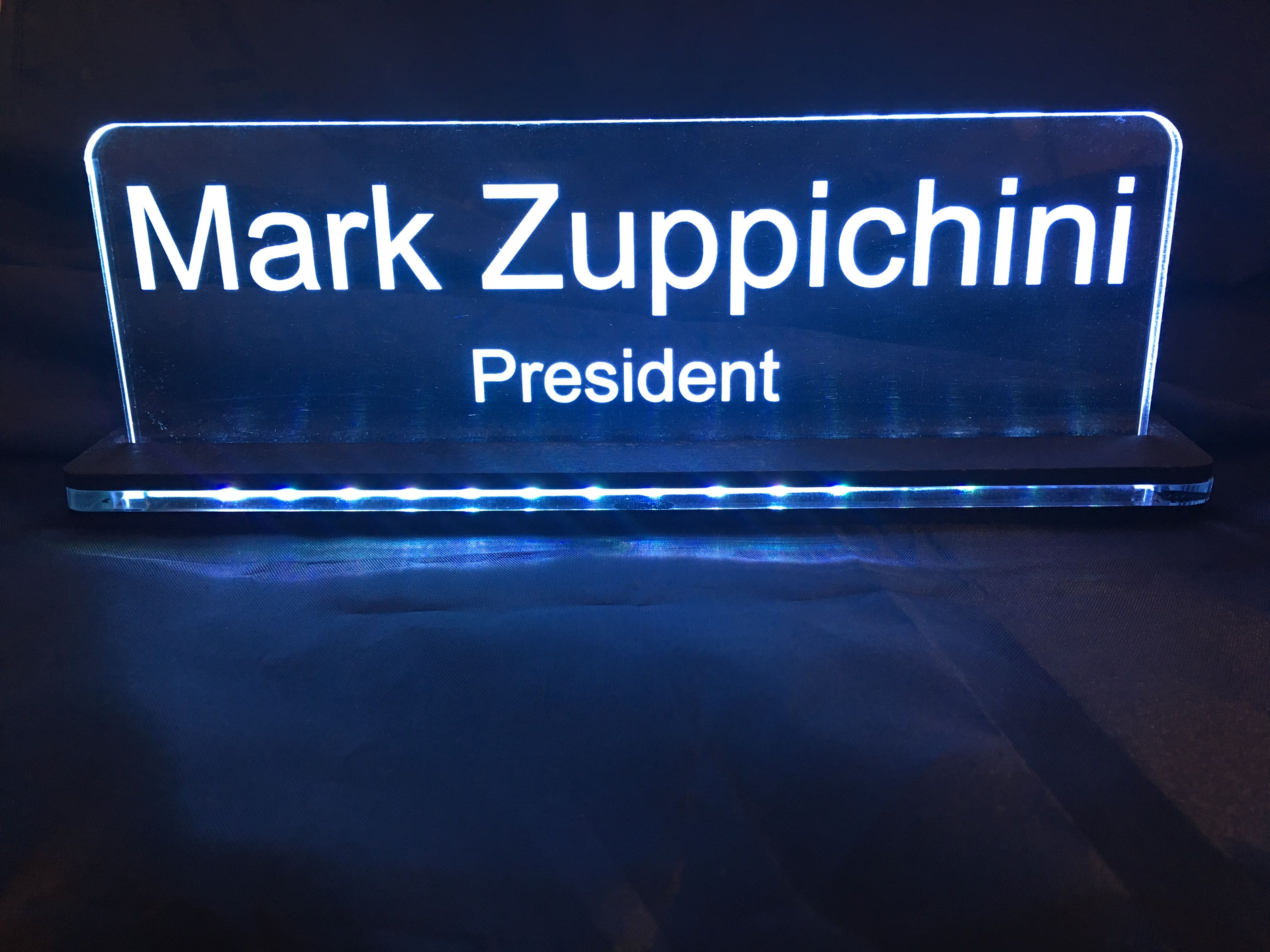 Personalised desk sign Laser Etched Edge Lit LED acrylic plate.